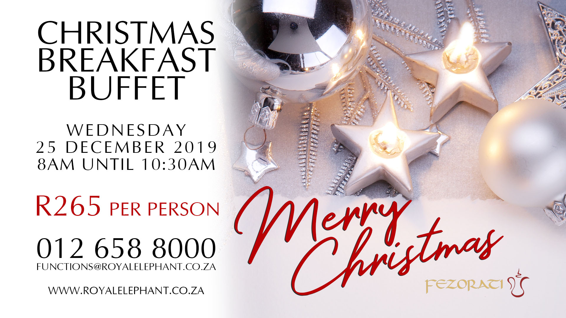 Christmas Breakfast Buffet – 25 December 2019