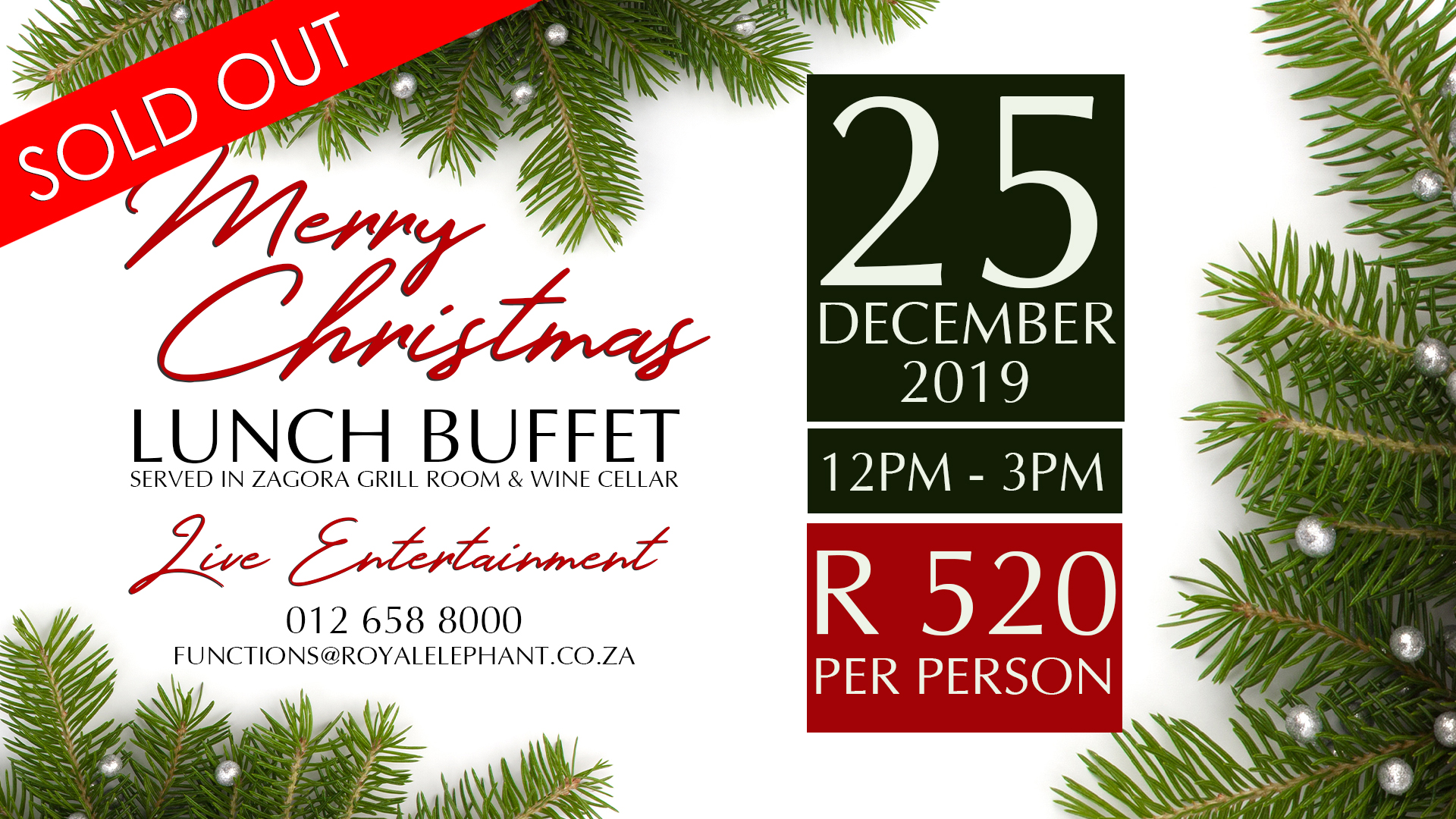 Christmas Lunch Buffet – 25 December 2019