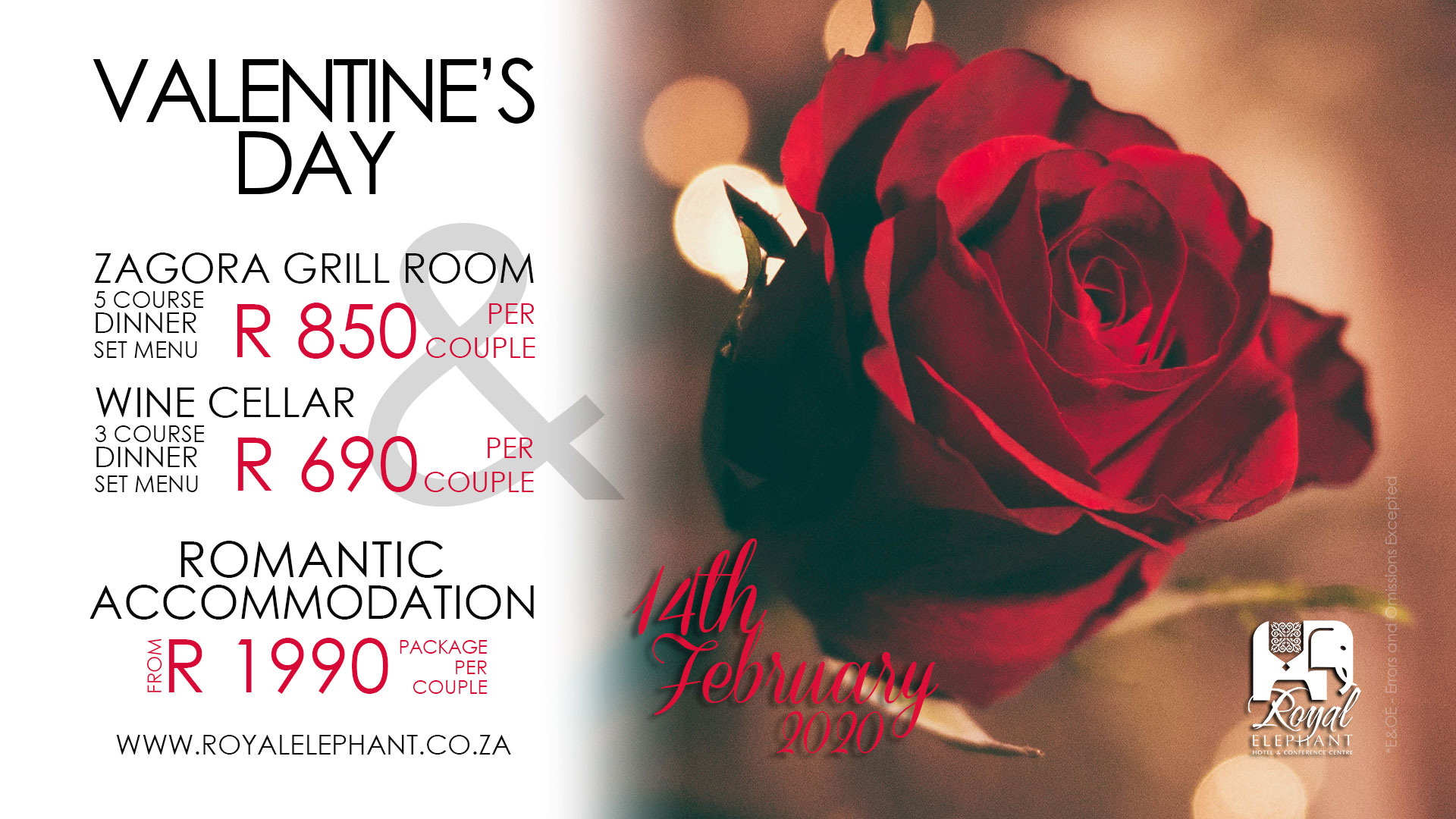 Valentines Specials – DINNER ONLY – (14 Feb 2020)