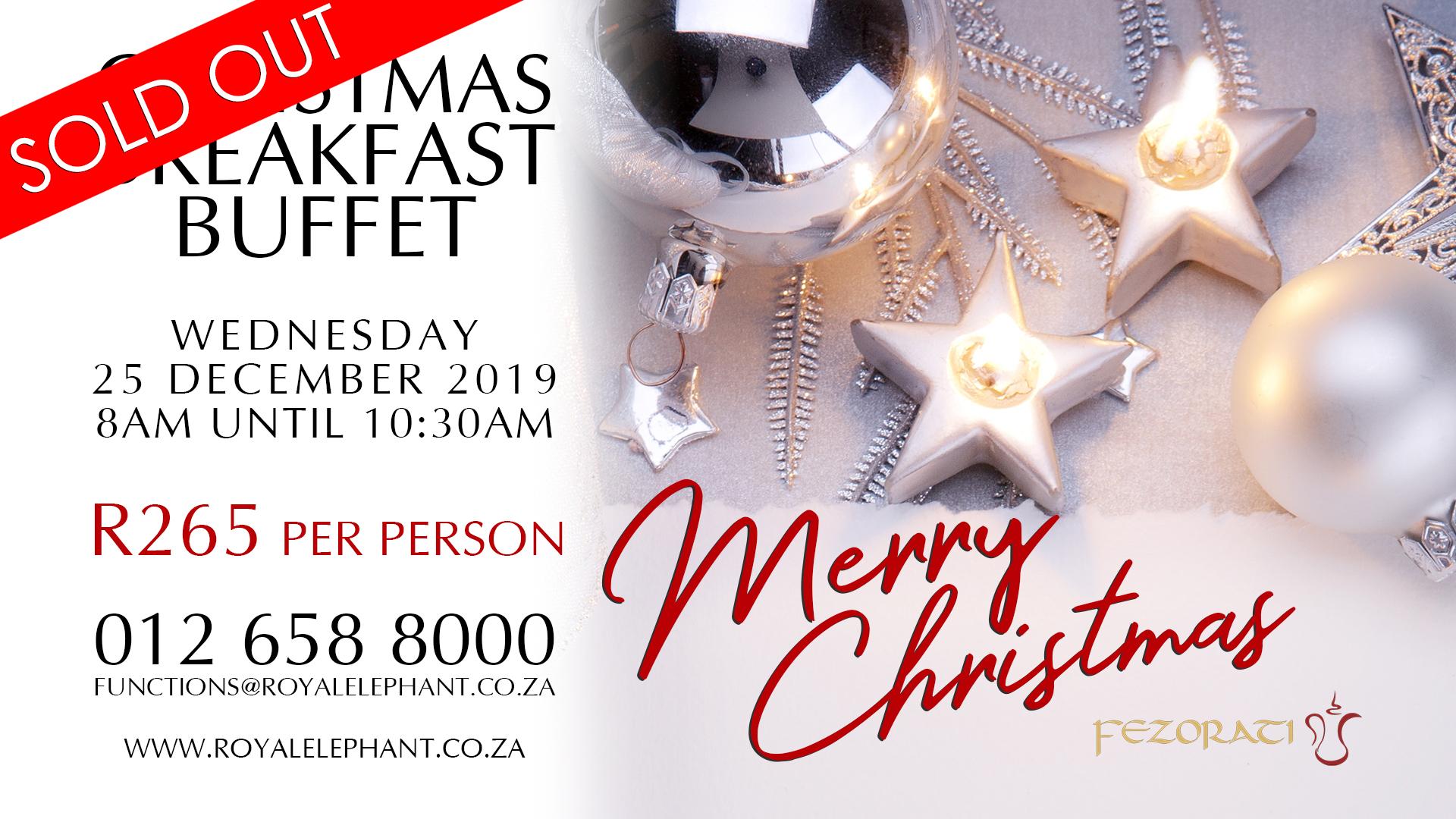 Christmas Breakfast Buffet – 25 December 2019