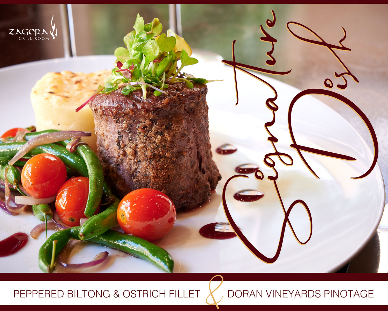 Signature Dish – Peppered Biltong & Ostrich Fillet